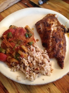 broiled grouper and spicy okra and tomatoes