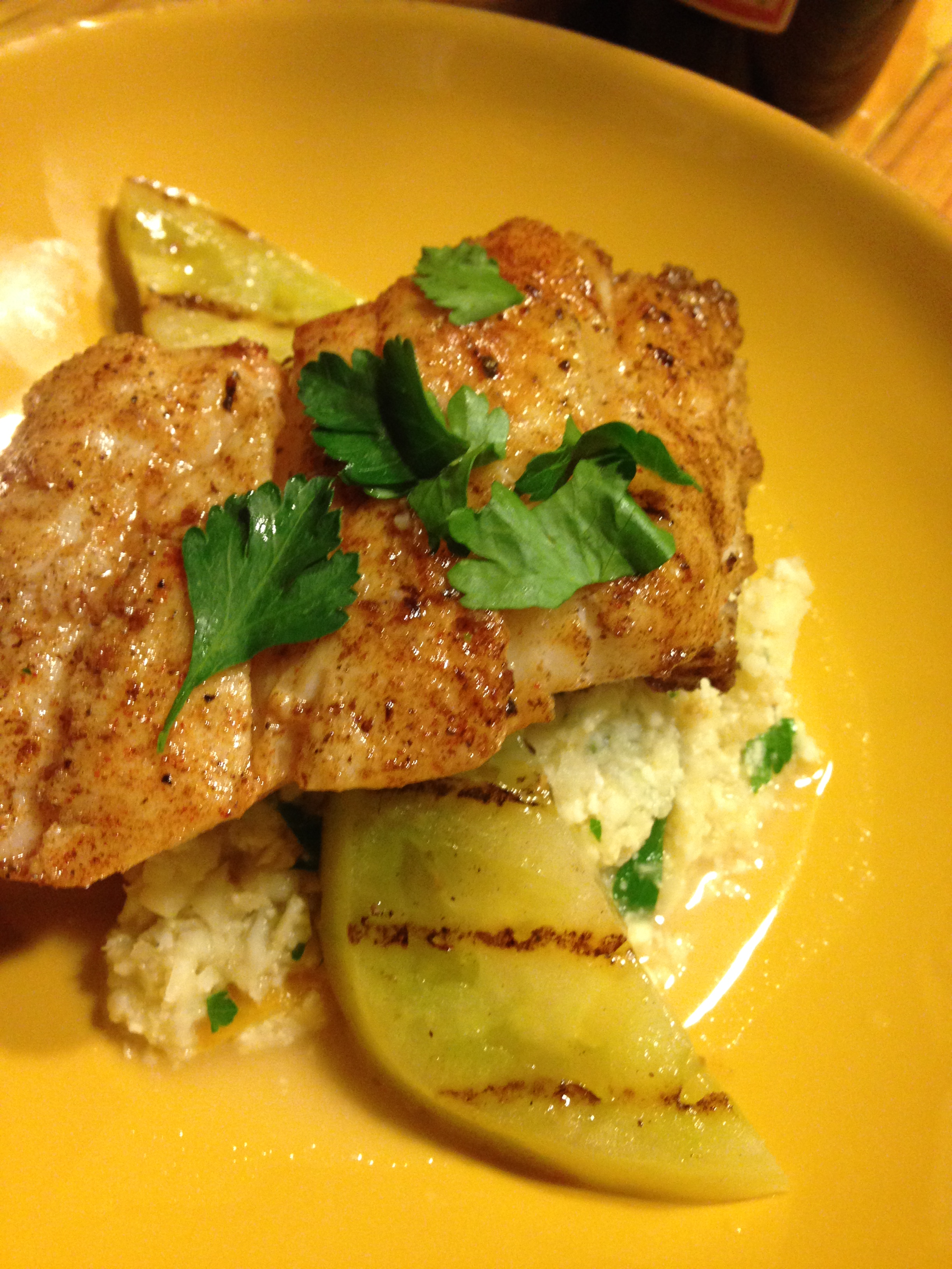 wild card wednesday: brown butter sauteed haddock, grilled green ...